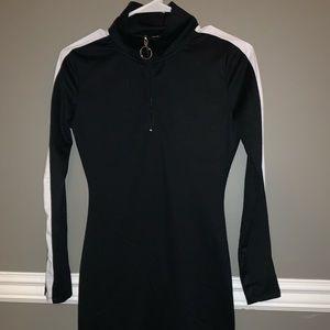 Black Bodycon Dress w/ white stripe sleeves